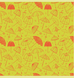 seamless pattern with red umbrellas on green vector image