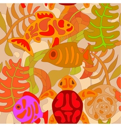 seamless pattern with stylized tribal aquatic anim vector image
