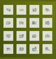 search icons line style set with photo vector image