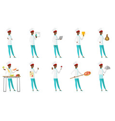 Set of chef-cooker characters vector