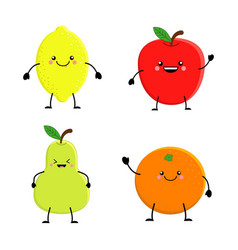 set of cute cartoon fruit lemon orange apple pear vector image