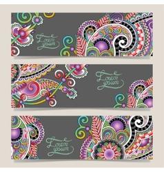 set of decorative flower template banner vector image