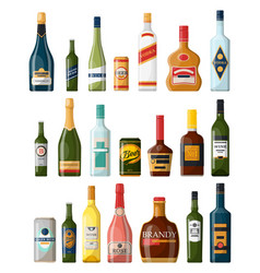 set of isolated alcohol or booze bottles beverage vector image