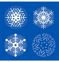 Set of white decorative snowflakes vector
