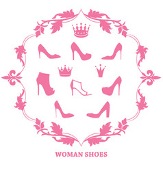 Set of woman shoes silhouettes with crowns in vector