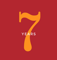 seven years symbol seveth birthday emblem vector image