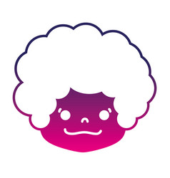 Silhouette boy head with curly hair and happy face vector