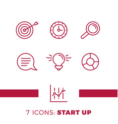 simple set start up or business related line vector image
