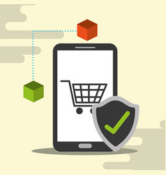 smartphone online shopping cart blockchain check vector image