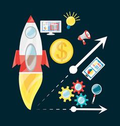 smartphone rocket bulb and computer digital vector image