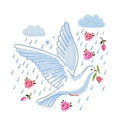 Soaring dove with flower in the clouds vector image