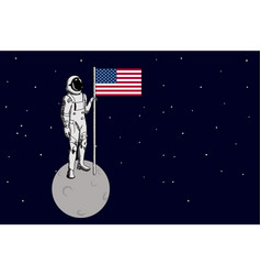 space walk on lunar surface usa astronaut vector image