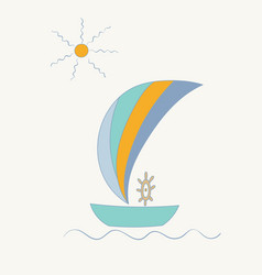 Striped sailing ship with a steering wheel under vector
