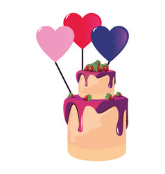 sweet cake balloons heart vector image