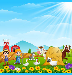 the farmers keeping the animals on the farm vector image