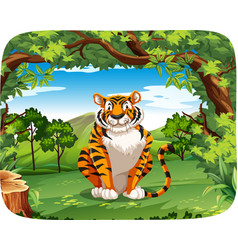 tiger in the nature scene vector image