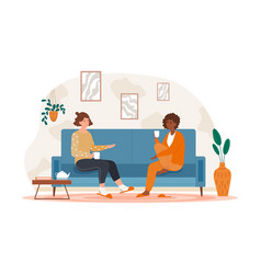 two female friends drinking tea at home vector image
