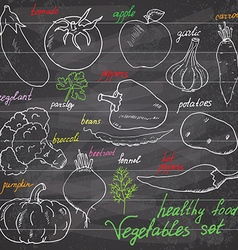 vegetables set sketch with pumpkin tomato eegplant vector image