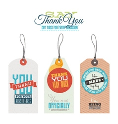 Vintage thank you labels hang tags vector