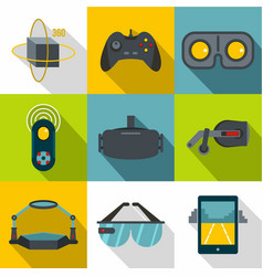 vr game equipment icon set flat style vector image