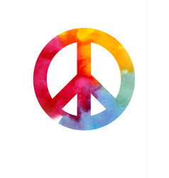With beautiful peace sign in watercol vector