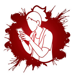 Woman typing textwoman using smartphone cartoon vector