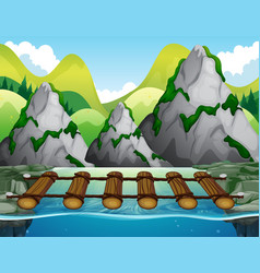 Wooden bridge across the river vector