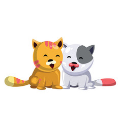 yellow cat and white cat smiling on white vector image