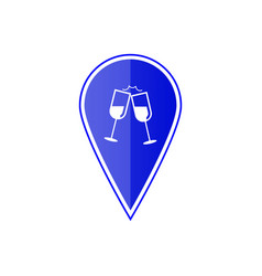 blue map pointer with wine glasses vector image vector image