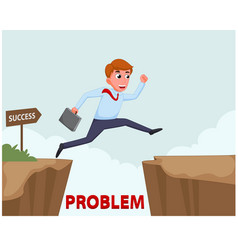 businessman jump over cliff vector image vector image