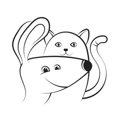 cat and dog silhouette vector image