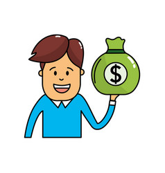 man with bag cash money in the hand vector image