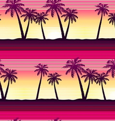 Tropical palms at sunset seamless pattern vector image