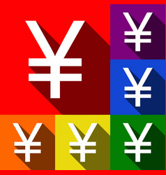 yen sign set of icons with flat shadows vector image