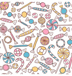 Candies Seamless Pattern Hand Drawn vector image