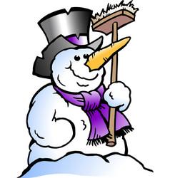 cartoon of a happy snowman vector image vector image