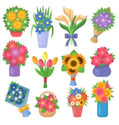flowers bouquet set collection flat floral vector image