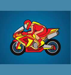 red motorcycle racing side view graphic vector image