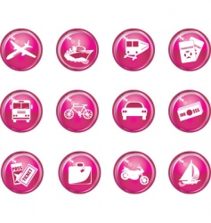 travel button icons vector image vector image