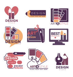 design studio logo labels collection isolated on vector image