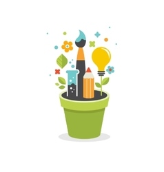 Growing idea - education creativity and science vector image vector image