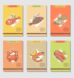 Hand drawn seafood cards design with fish vector