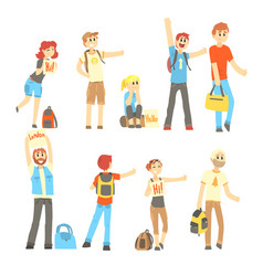 hitchhiker standing with backpack and bag set for vector image vector image