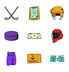 Hockey game icons set cartoon style vector