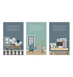 modern interior banners set kitchen living room vector image vector image