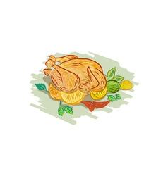 Roast chicken vegetables drawing vector