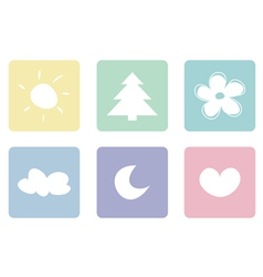 Sweet pastel icons buttons or logo set vector image