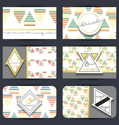 Vintage business card Set retro cards with vector image