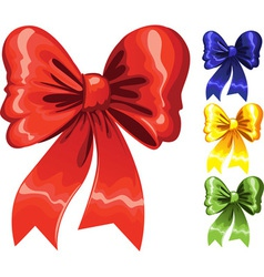Color festive Christmas bow red green blue yellow vector image vector image