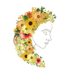 floral female line silhouette portrait of vector image vector image
